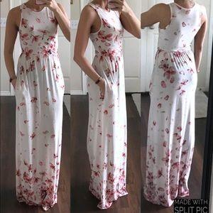 e6c0af955fe éloges white pink floral cherry blossom maxi dress